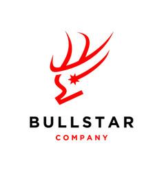Bull head with star logo template vector