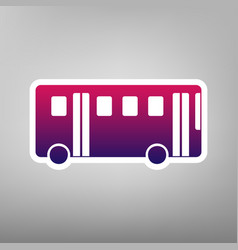 bus simple sign purple gradient icon on vector image