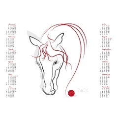 Calendar 2026 The Year of the Horse vector