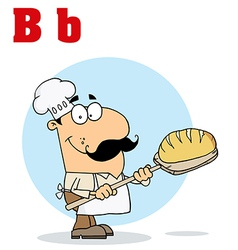 Cartoon baker with letter vector image