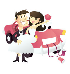 Cartoon just married wedding couple vector