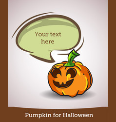 cartoon pumpkin with speech bubble isolated on vector image
