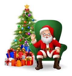 Cartoon santa claus sitting on green arm chair vector