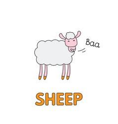 cartoon sheep flashcard for children vector image