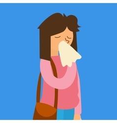 Cartoon Sick Flu Woman vector image