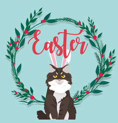 Cat with easter lettering on flower flame vector