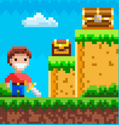 Character in pixel-game arcade play man vector