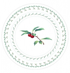 cherries decorative pattern for plate vector image vector image