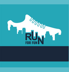 city marathon poster - running sport shoe and vector image