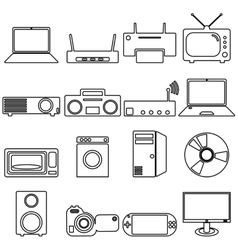Collection flat icons with long shadow Electrical vector image