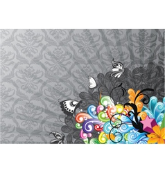 colorful abstract background with butterflies vector image