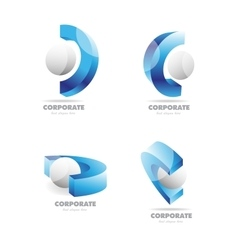 Corporate business 3d logo icon set vector image