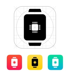 CPU in smart watch icon vector