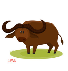 Cute buffalo bull in cartoon style isolated vector