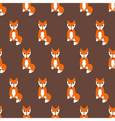 Cute fox seamless pattern on brown background vector image