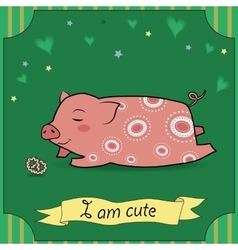 Cute Pig with cake vector