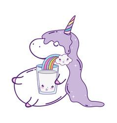 Cute unicorn with rainbow kawaii vector