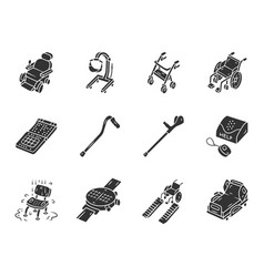 Disabled devices glyph icons set silhouette vector
