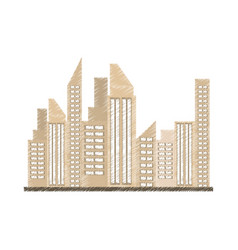 Drawing building city real estate vector