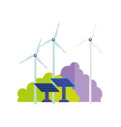 Ecology wind turbine and solar panels energy vector