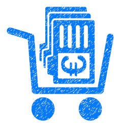 euro cash out cart grunge icon vector image