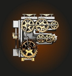 F letter with gears vector