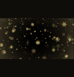 falling golden snowflakes isolated on darck vector image