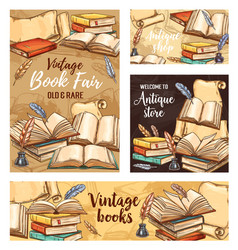 feather pen old book and ink sketch banners vector image