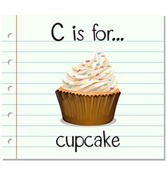Flashcard letter c is for cupcake vector