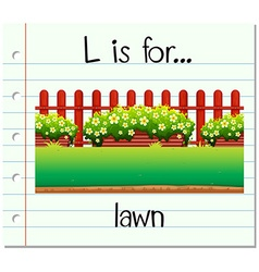 Flashcard letter L is for lawn vector image