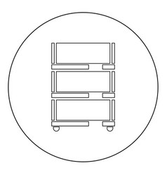 floor rack for paper icon black color in circle vector image