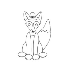 fox coloring page vector image