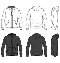 Front back and side views of blank hoodie with vector image
