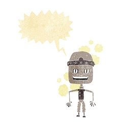 Funny cartoon old robot with speech bubble vector