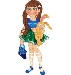 girl with yellow bunny and bag vector image