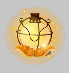 Glowing lamp in vintage religious style with vector