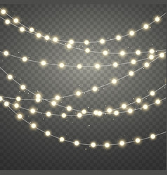 golden christmas lights isolated on transparent vector image