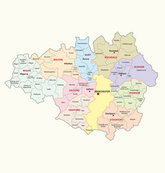 greater manchester district map vector image