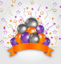 Halloween decoration with balloons confetti and vector image