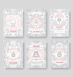 happy birtday party thin line brochure cards set vector image