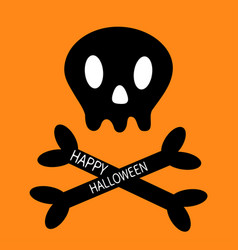 happy halloween skull with bone crosswise icon vector image