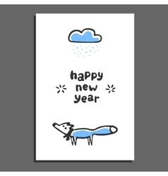 Happy new year greeting card with cute cartoon fox vector image