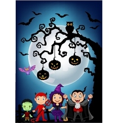 Haunted tree in graveyard with dressed up children vector image