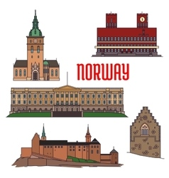 Historic buildings and sightseeings of norway vector