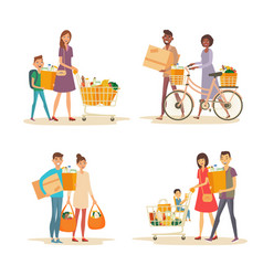 interracial happy family with trolley and grocery vector image