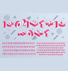 isometric font geometric alphabet 3d letters vector image