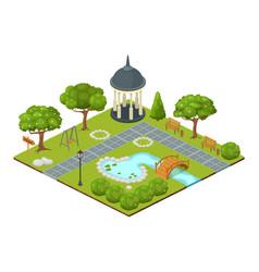 Isometric park cartoon 3d vector