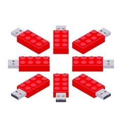 Isometric USB flash-drive in a shape of the vector image