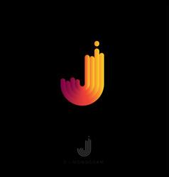 J monogram logo rounded stripes gradient vector