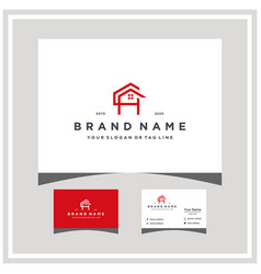 Letter ch home logo design and business card vector